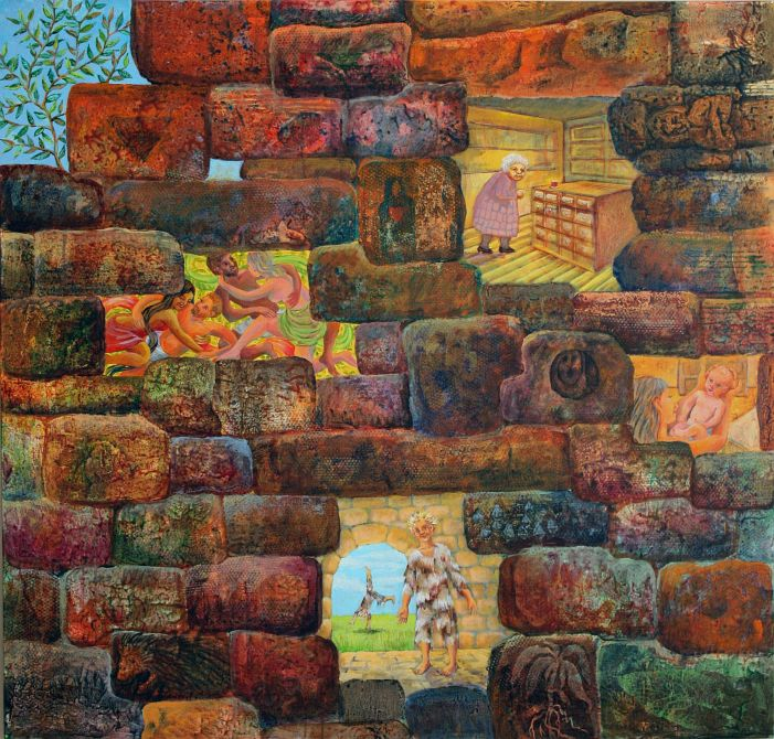 'Bright Niches in the Castle Wall', a dream painting by Jenny Badger Sultan. Click to enlarge.