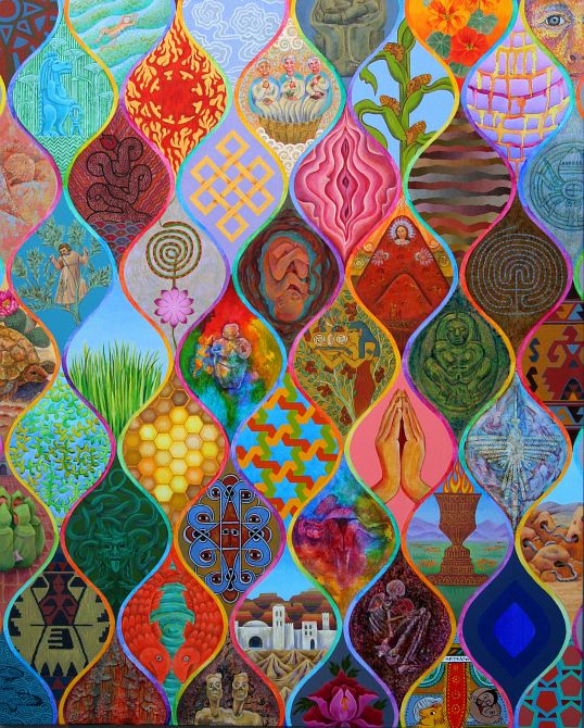 Acrylic painting by Jenny Badger Sultan: 'Personal Excavations'. A composite painting with spindle-shaped interlocking images. Click to enlarge.